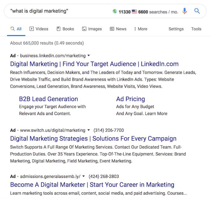 نتیجه جستجوی بازاریابی دیجیتال چیست